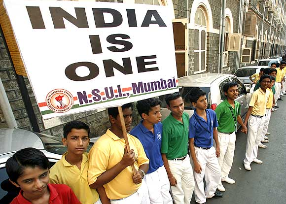Members of the National Students Union of India, the Congress party's students wing, at a protest against terror attacks in Mumbai