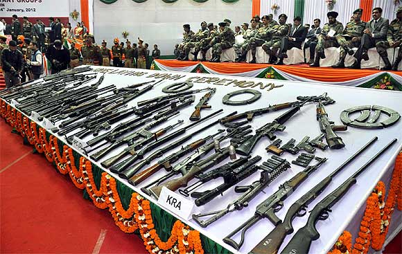 Surrendered arms displayed at the arms laying down ceremony in Guwahati