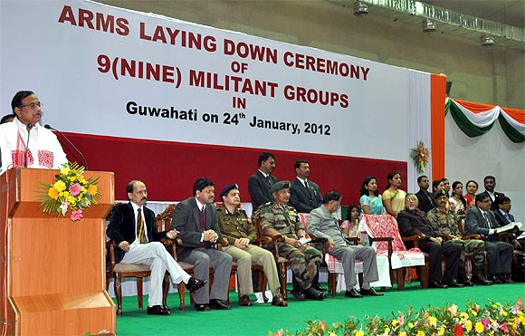 P Chidambaram speaks at the arms laying down ceremony in Guwahati
