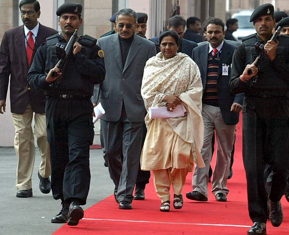 Mayawati arrives for a function in Lucknow