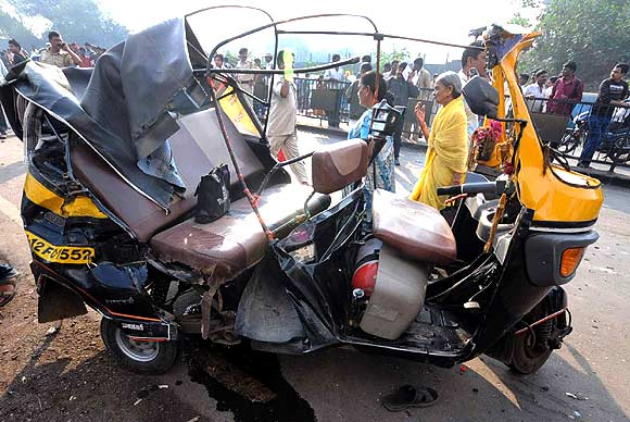 A completely wrecked autorickshaw