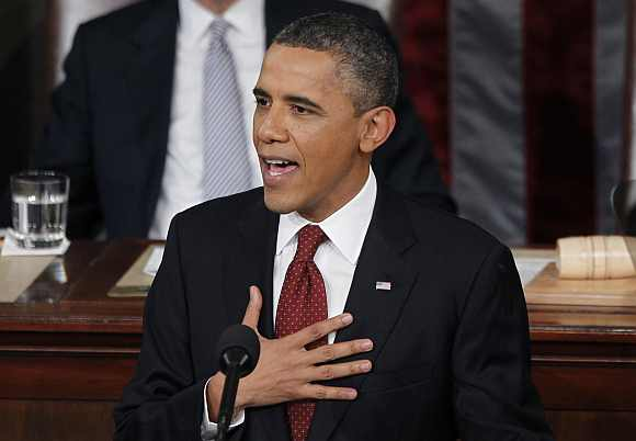 US President Barack Obama delivers his State of the Union address to a joint session of Congress on Capitol Hill in Washington