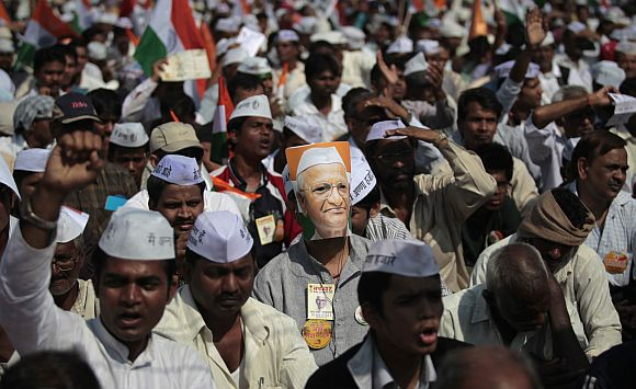 A supporter of Anna Hazare shouts slogans during the veteran social activist's fast in Mumbai