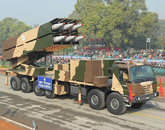 Prahaar missile passes through the Rajpath