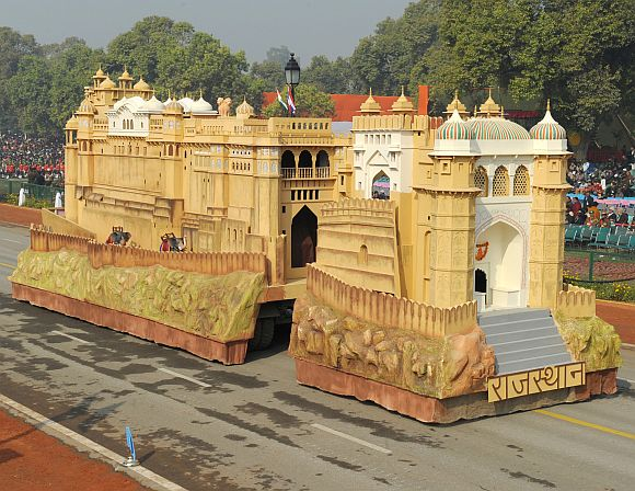The tableau of Rajasthan passes through the Rajpath