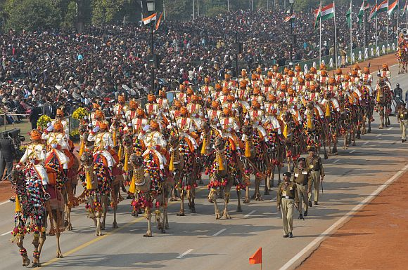 Border Security Force camel contingent passes through the Rajpath