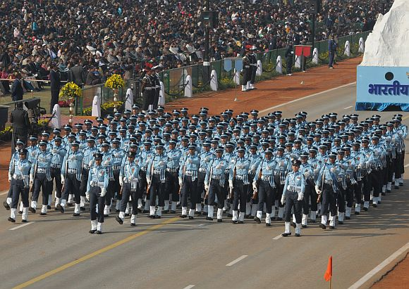 Indian Air Force Band marching contingent passes through the Rajpath