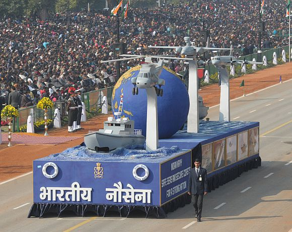 Tableau of 'Indian Navy -Safe Seas and Secure Coasts for a Strong Nation' passes through the Rajpath