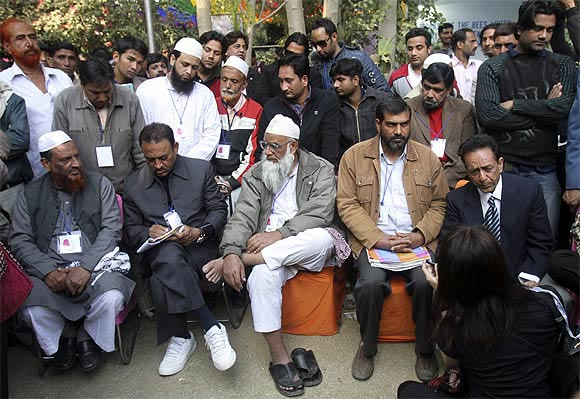 Members of Islamic organisations before Salman Rushdie's video link was to be aired at Jaipur, January 24. It was later cancelled.