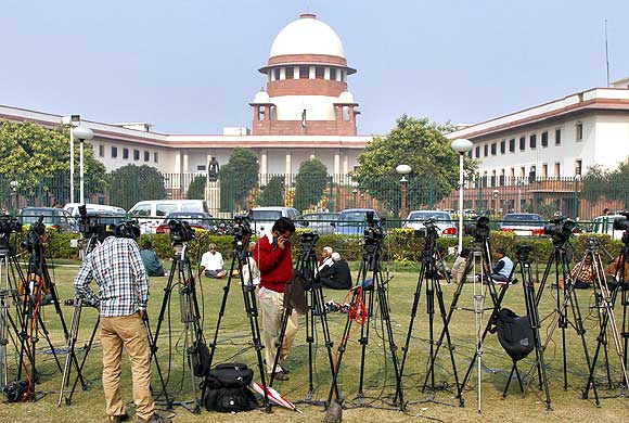 Television cameras outside the Supreme Court of India