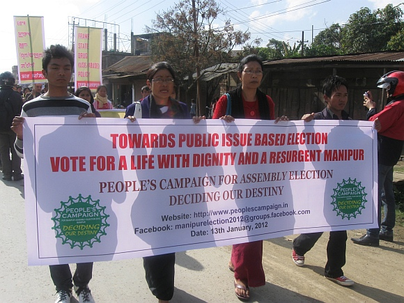 A public rally organised by People's Campaign for Election 2012 in Imphal