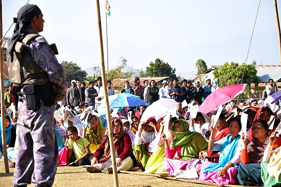 A security man at an election meeting in Manipur
