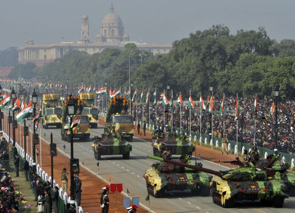 The Indian Army's T-72 Ajeya tanks take part in the Republic Day parade in New Delhi on Thursday
