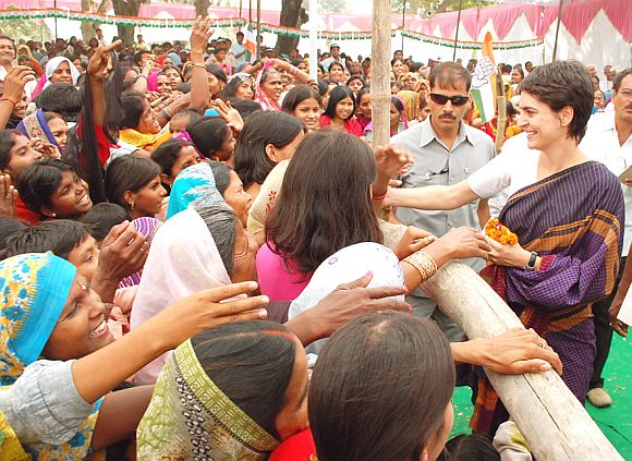 Priyanka Gandhi at an election rally in Amethi