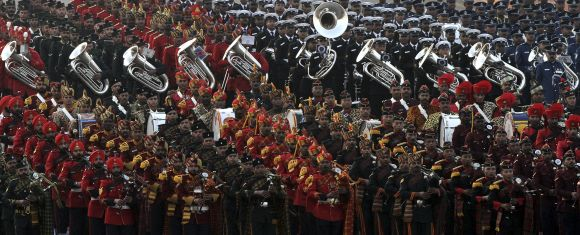 Bands of the Indian military sound the retreat during the Beating the Retreat ceremony in New Delhi