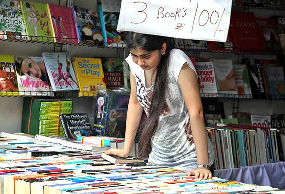 A young enthusiast at the national Book Fair in Lucknow