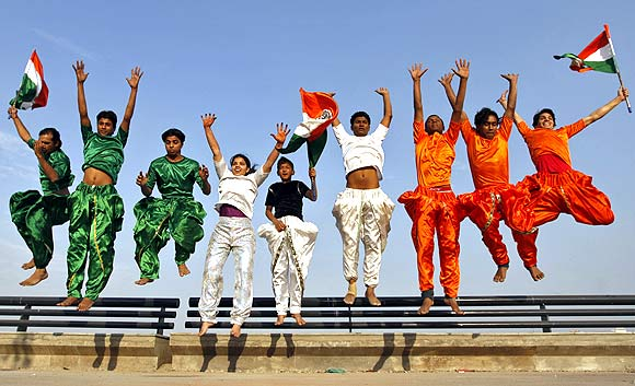 Students before the Republic Day celebration in Ahmedabad