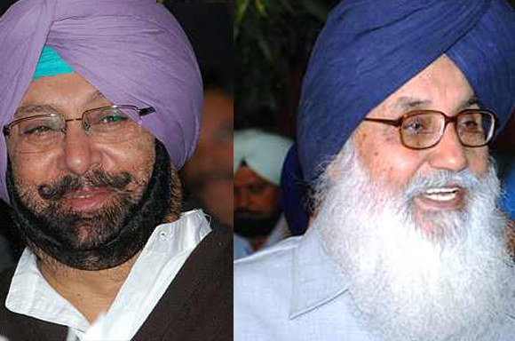 Punjab Congress Chief Captain Amarinder Singh (left) and Punjab Chief Minister Parkash Singh Badal