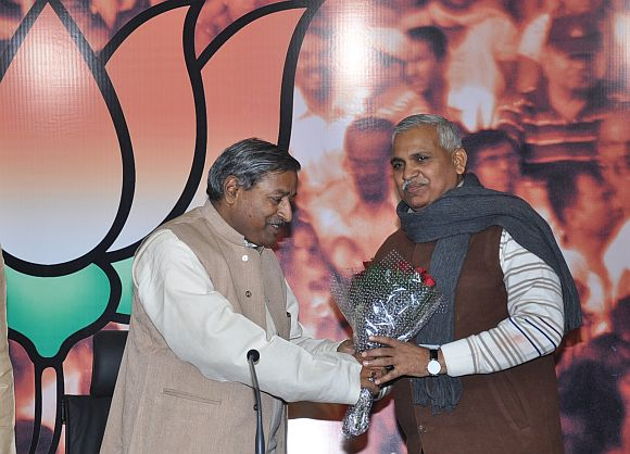 Babu Singh Kushwaha (right) with BJP National Vice President Vinay Katiyar at 11, Ashok Road, New Delhi