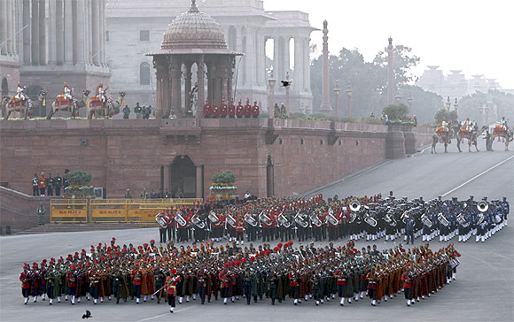 Indian military bands sound the retreat during the rehearsal for the 'Beating the Retreat' ceremony in New Delhi