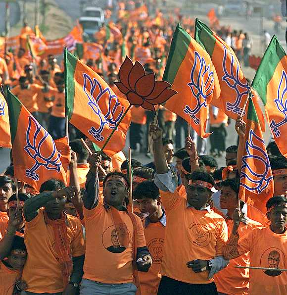 BJP supporters at a rally