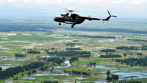 PM's helicopter surveys the flood-affected districts of Assam on Monday
