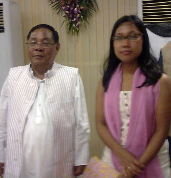 Former Lok Sabha Speaker P A Sangma with his daughter and MP Agatha Sangma