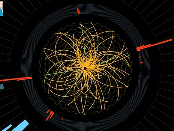 A rendering from the LHC that might represent a decaying Higgs boson