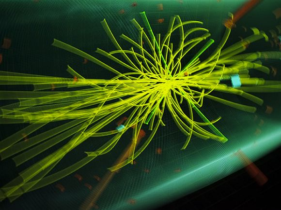 A graphic showing traces of collision of particles at the Compact Muon Solenoid (CMS) experience is pictured with a slow speed experience at Universe of Particles exhibition of CERN