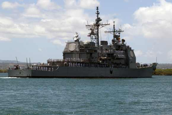 The Ticonderoga-class guided missile cruiser USS Princeton  pulls into Joint Base Pearl Harbour-Hickam to support the Rim of the Pacific 2012 exercise