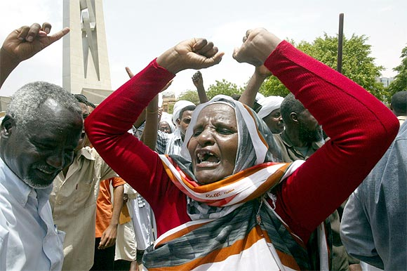 A supporter of Sudan's President Omar Hassan al-Bashir demonstrates against the International Criminal Court's arrest warrant for Bashir in Khartoum