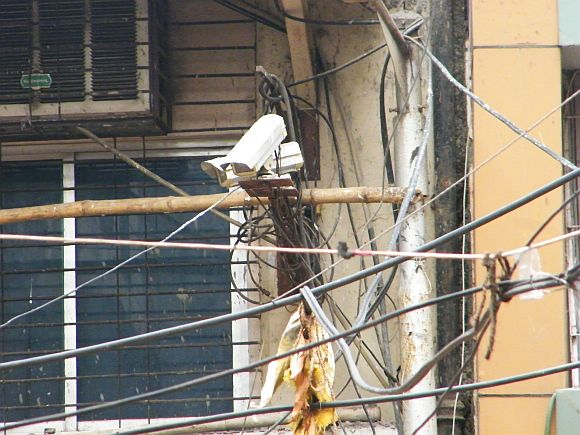 A CCTV installed in the Khau Galli lane