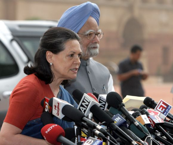PM Singh with Congress president Sonia Gandhi in New Delhi
