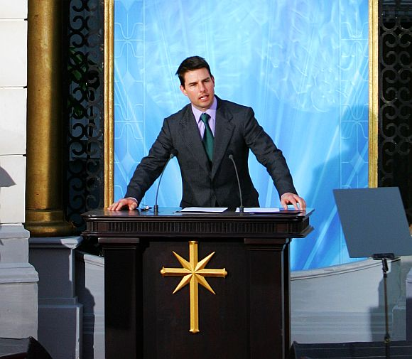 Tom Cruise delivers a speech at the opening of a Scientology church in Madrid