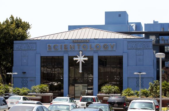 Cars are parked outside the Church of Scientology in Los Angeles