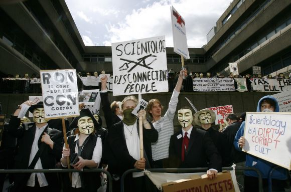 Protesters hailing from a group named 'Anonymous' demonstrate outside the Church of Scientology in London