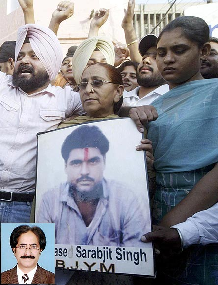 Family members of Sarabjit Singh appeal for his release and (inset) Awais Sheikh
