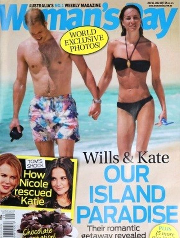 A photograph of the royal couple on their honeymoon on the cover of Australian magazine 'Woman's Day'