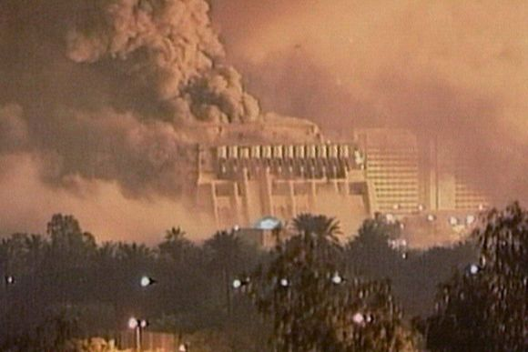 Saddam's palace in Baghdad is bombed during the 2003 shock and awe raid