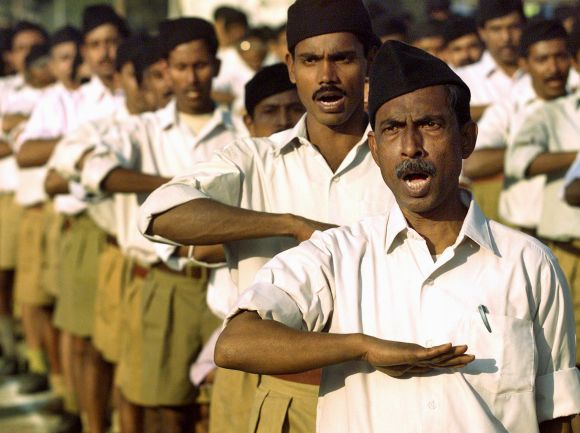 RSS volunteers participate in a function in Kolkata