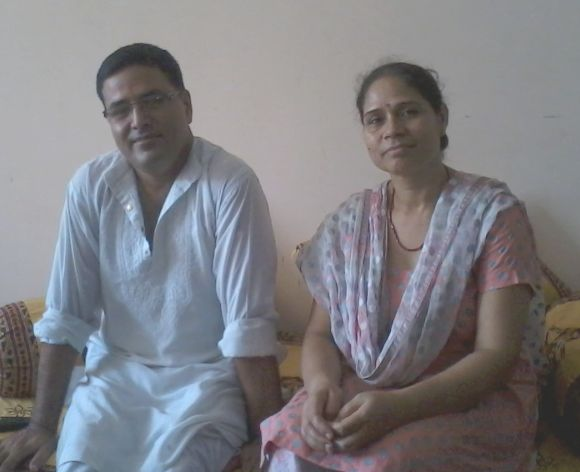 Ajay Bharti with his wife