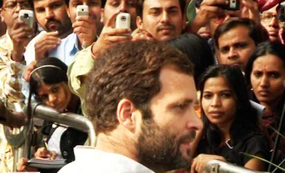 Rahul interacts with the public in New Delhi