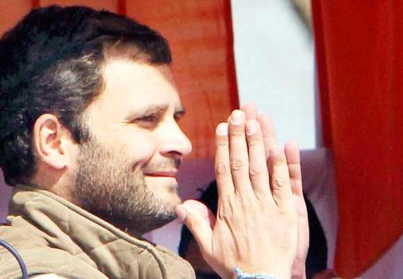 Rahul during a rally in Uttar Pradesh