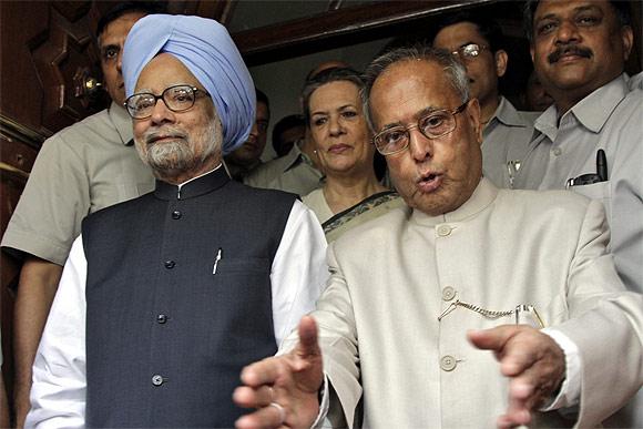 Prime Minister Manmohan Singh with former Finance Minister Pranab Mukherjee