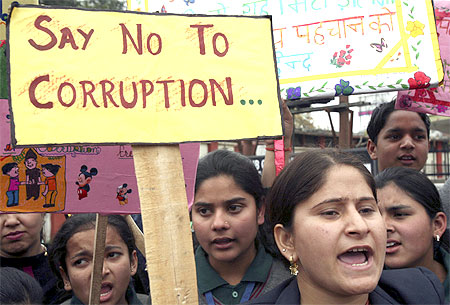 Students at an anti-corrution protest march in Jammu