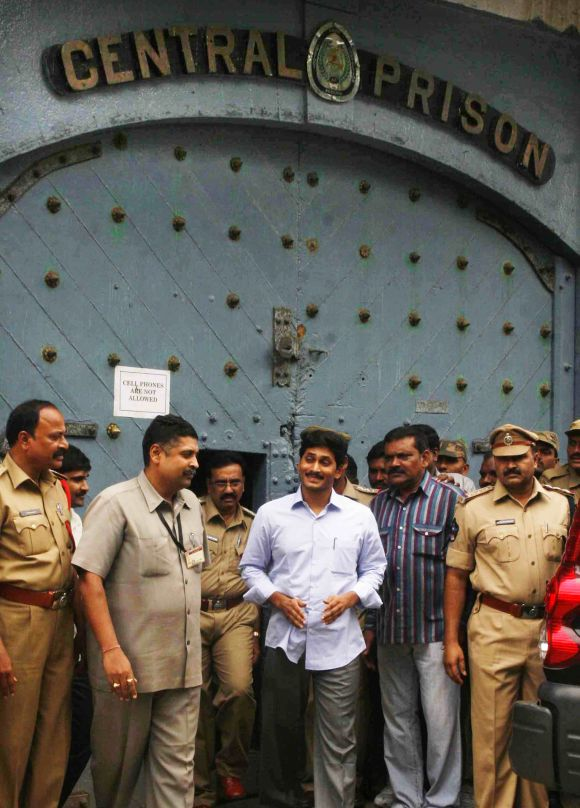 Jaganmohan Reddy steps out of Hyderabad's Chanchalguda Central Prison to cast his vote in the presidential election at AP assembly on Thursday