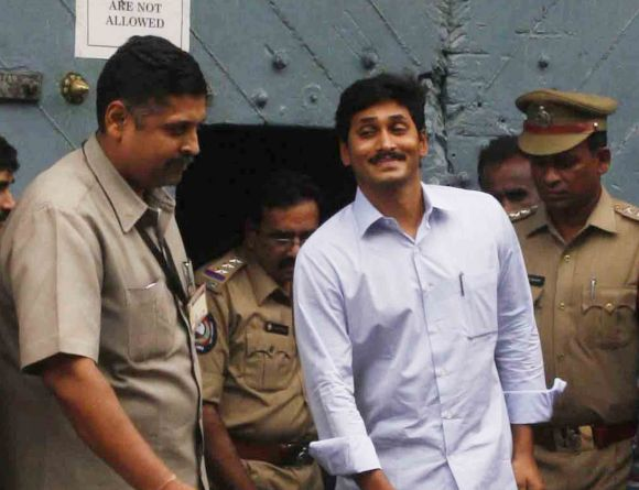 Jagan Reddy steps out of the Chanchalguda jail in Hyderabad