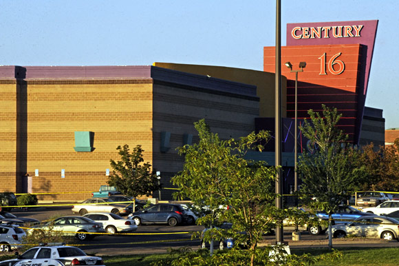 The Century 16 Theatre where a masked gunman killed 14 people at a midnight showing of the new Batman mo