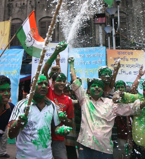 Congress workers in celebration mode in Kolkata as Pranab Mukherjee inches closer to becoming the first Bengali President of India