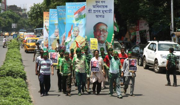 Congress supporters take out a procession in Kolkata to congratulate Pranab Mukherjee